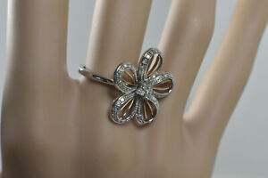 Diamond-14K-Rose-Gold-amp-Sterling-Silver-Flower-Cocktail-Ring