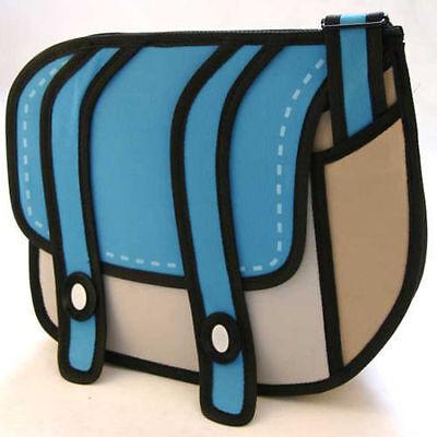 Hot 3D Jump Style 2D Drawing From Cartoon Paper Bag Comic 3D Messenger Bag Blue
