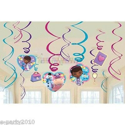 DOC McSTUFFINS HANGING SWIRL DECORATIONS (12) ~ Birthday Party Supplies