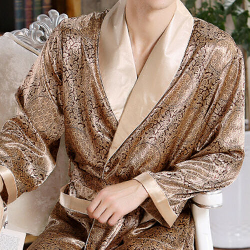 Mens Satin Silk Pajamas Kimono Dressing Robe Gown Loungewear Bathrobe Sleepwear