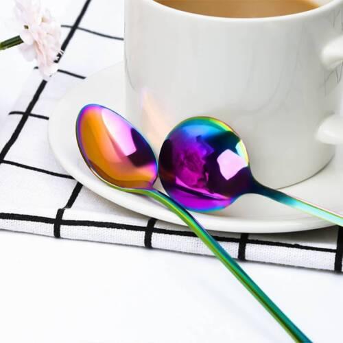 Arc-en acier inoxydable cuillères cuisine Couverts Coloré Dessert Vaisselle US