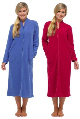Womens Thick Fleece Zip Full Length Gown Long Sleeve Robe Housecoat 8//24 UK