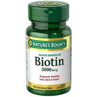 Nature's Bounty Biotin 5000 Mcg Quick Dissolve Tablets 60 Ea (pack Of 3) on sale
