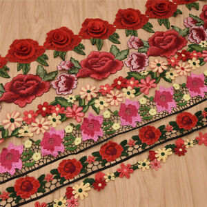 1-Yard-Flower-Lace-Trim-Rose-Embroidered-Ribbon-Clothing-Sewing-Fringe-Craft-DIY