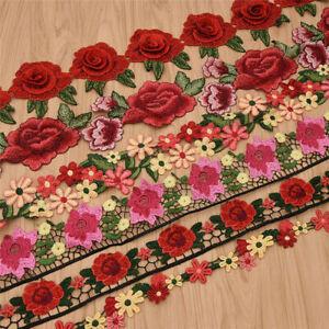 1-Yard-Flower-Lace-Trim-Rose-Embroidered-Ribbon-Clothing-Sewing-Fringe-Craft-DIY