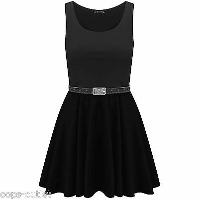 Ladies Belted Sleeveless Office Flared Franki Club Party Womens Skater Dress Top