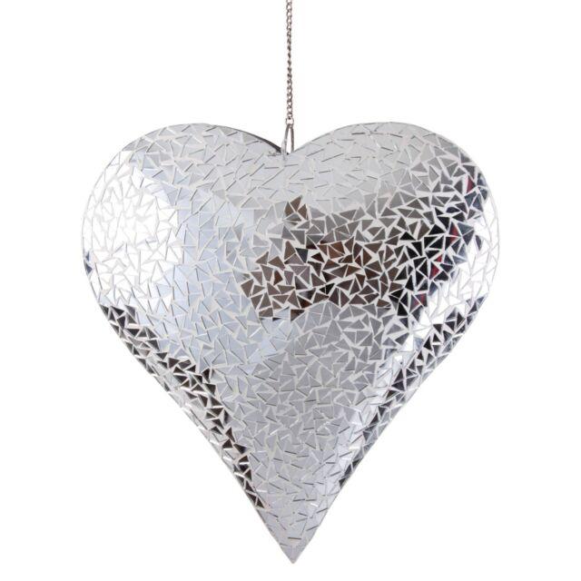 Large Silver Mosaic Glass Hanging Suncatcher Heart Mobile Garden Home Ornament