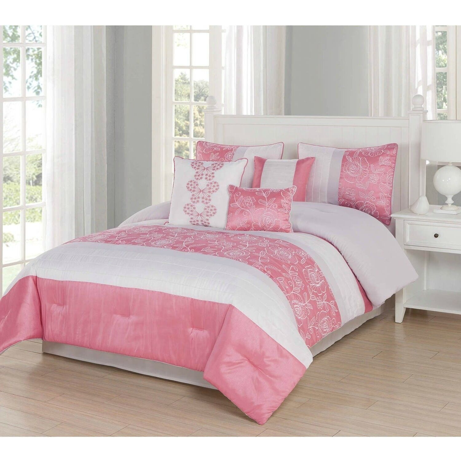 Beautiful Coral Floral Embroiderot Faux Silk Comforter King Queen 7 pcs Set New