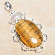 "Handmade Golden Tiger's Eye Gemstone 925 Sterling Silver Pendant 2.5"" #P03498"
