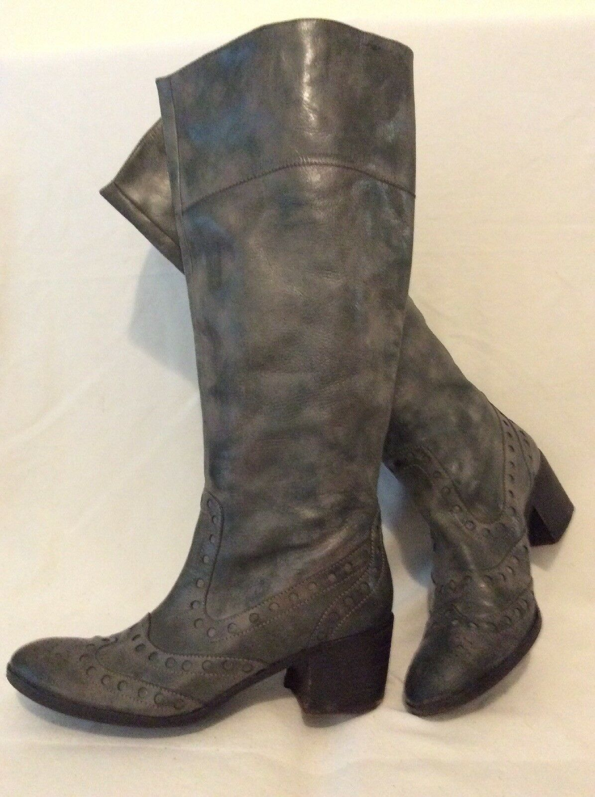 ASH Grey Knee High Leather Boots Size 41