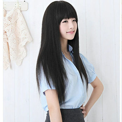 "25"" Fashion Natural Long Straight Black Women's Girl Full Hair Cosplay Wigs"