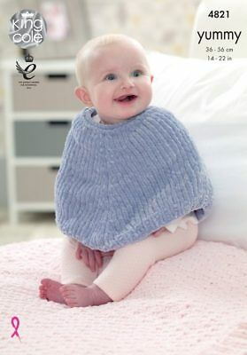 Yummy 4534 King Cole Knitting Pattern Easy Knit Cocoon Baby Blanket