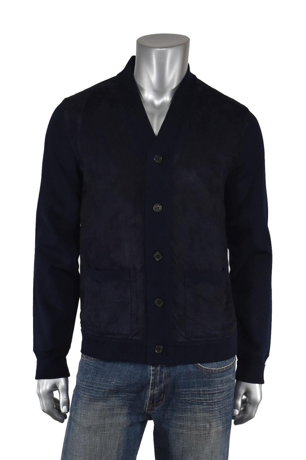 Ralph Lauren lila Label Navy Cotton Suede Leder Cardigan Sweater New 1495