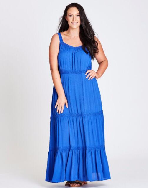 Autograph cobalt blue tiered beach holiday party Maxi dress short sleeve 24 NEW