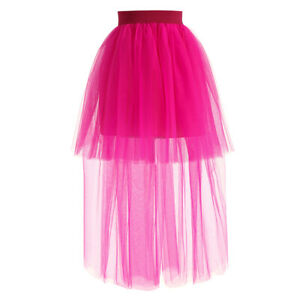 Femme Maille Pur Hi-Low Jupe Demi Agitation Tulle Tutu Burlesque Robe Mode Chic
