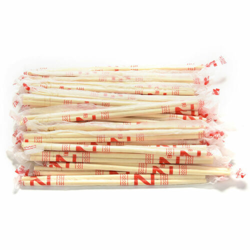 40 Pairs Disposable Bamboo Wooden Chopsticks Hashi Individually Wrapped FEH