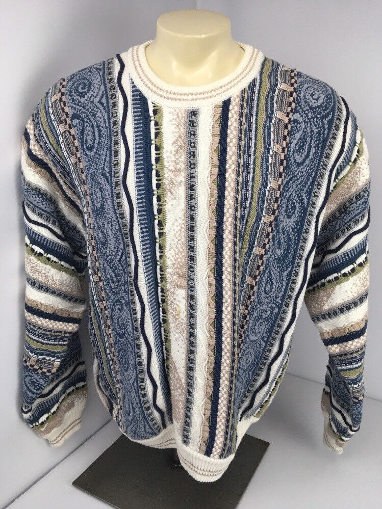 Vtg 90s Croft Barrow Textured Sweater Sz XL bluee Earth Tones Vapor wave EUC