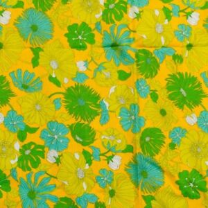 Vintage-Loud-Floral-Fabric-Orange-Yellow-New-old-Stock-Yellow-Orange-Blue-Green