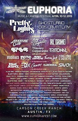 EUPHORIA MUSIC FESTIVAL 2015 Poster Concert Lineup Multiple Sizes