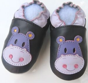 Minishoezoo-Hippopatamus-Nero-3-4-Bambini-Pantofole-Scarpe-IN-Pelle