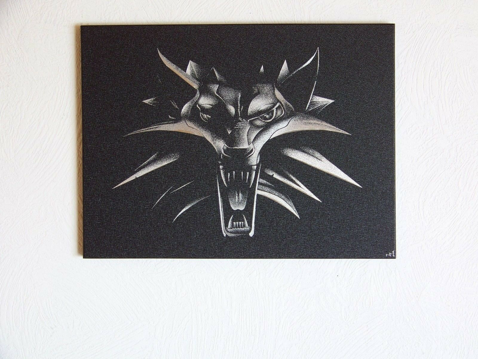 Wolf Witcher Engraved Metal Wall Hanging Home Cottage Shop Art Handmade