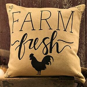 New Primitive Farmhouse Chic FARM FRESH ROOSTER PILLOW Burlap Accent 16/""