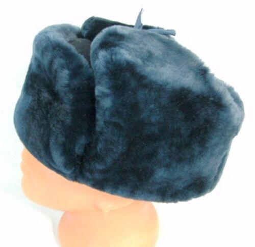 Ushanka 61cm pecora Xl polizia Mouton di russo Agente distintivo Pelliccia di Mouton Blue Cappello px6qTzU7
