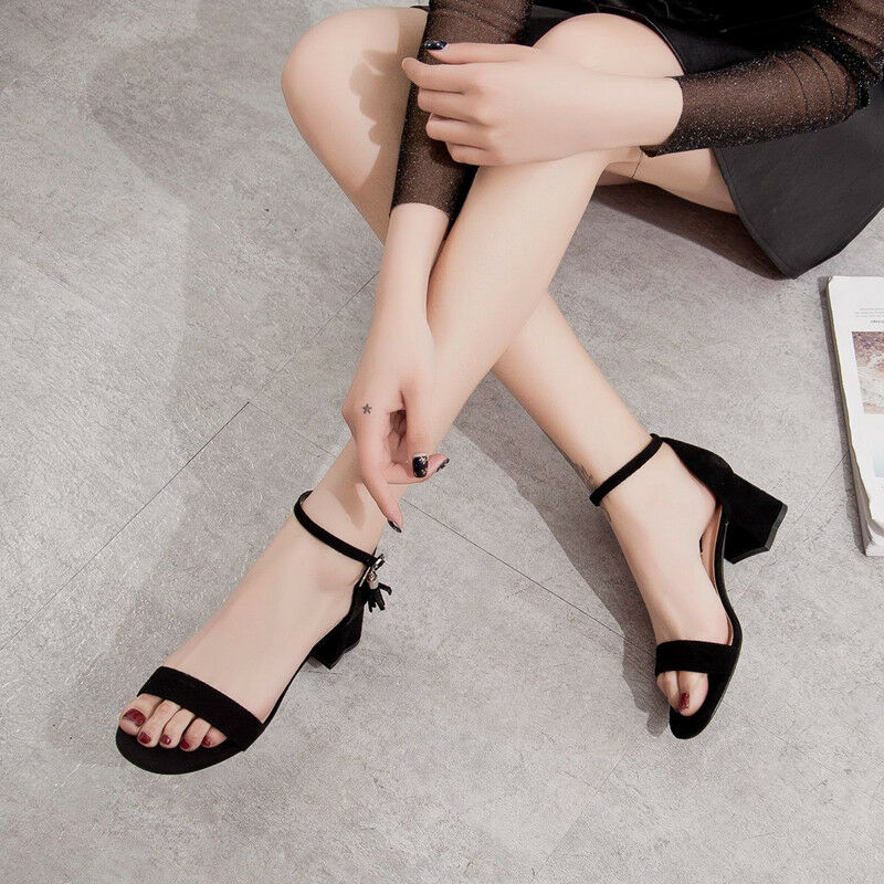 Sandalei 5 cm eleganti nero tacco quadrato Sandale simil simil Sandale 1102 pelle ... 40edaf