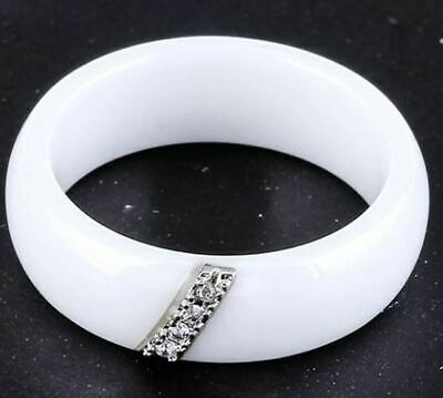 Mode Schmuck Frauen Ring Mit 4 Kristall Keramik Weiß 6 Mm Breit (21) Profitieren Sie Klein