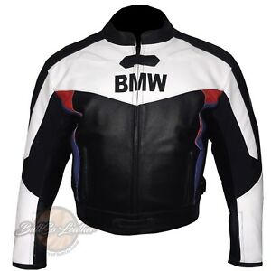 White & Black BMW 3878 Motorbike Biker Leather Jacket Motorcycle Armoured Coat
