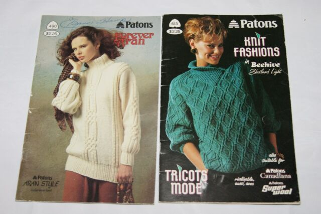 Lot Of 2 Vintage Knit Pattern Booklets Patons Sweater Patterns