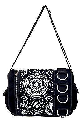 Pentagram Messenger Shoulder Bag by Banned Goth Emo Rock Occult Symbols BLACK