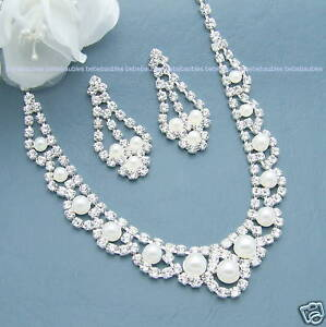 PEARL-Necklace-Set-BRIDAL-Wedding-Bridesmaid-Jewelry-Prom-CRYSTAL-SILVER-Sp-31