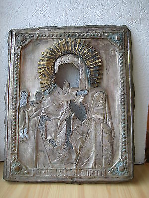 Russische Ikone,Antique Russian Orthodox icon riza,,Theotokos,, from 19c.