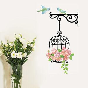 wandtattoo vogelk fig vogel blumen wandaufkleber sticker wohnzimmer garten deko ebay. Black Bedroom Furniture Sets. Home Design Ideas