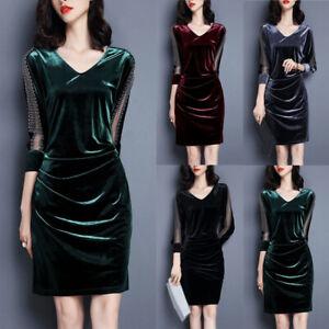 Women-039-s-V-Neck-Bodycon-Dress-Velvet-Evening-3-4-Sleeve-Retro-Casual-Dresses-Gown