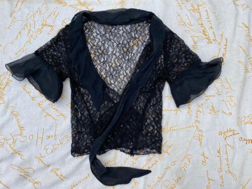 Antique 1930s Black Silk Floral Spiderweb Lace Blo