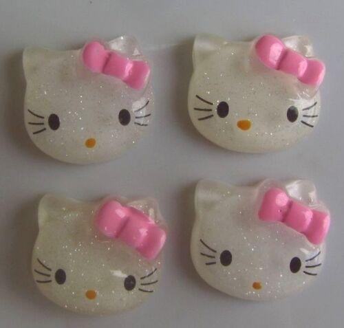 Resin Sparkle Kitty Flatbacks Scrapbooking Cabochons Hair Bow Center Phone