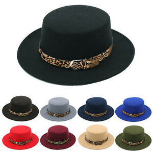 ab3fefbe97084 Men Women Boater Hats Sailor Cap Wide Brim Flat Top Pork Pie Sunhat ...