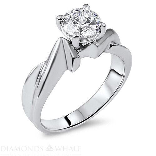 0.45 Carat White gold 18K Diamond Ring Round Cut SI2 D Wedding Bridal, Enhanced
