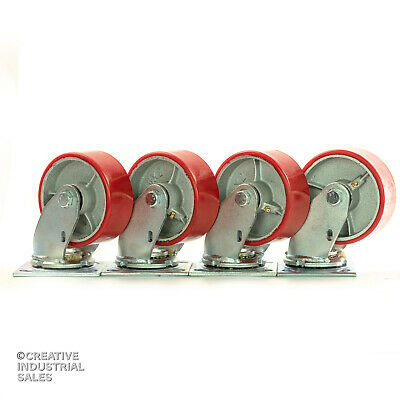 "5/"" x 2/"" Polyurethane Caster Wheel on Steel Hub w// Roller Brg 1000lb FREE Bushing"