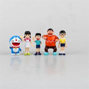 lot 5  Doraemon Nobi-Nobita Dorami Shizuka Minamoto Suneo keyring mini figure