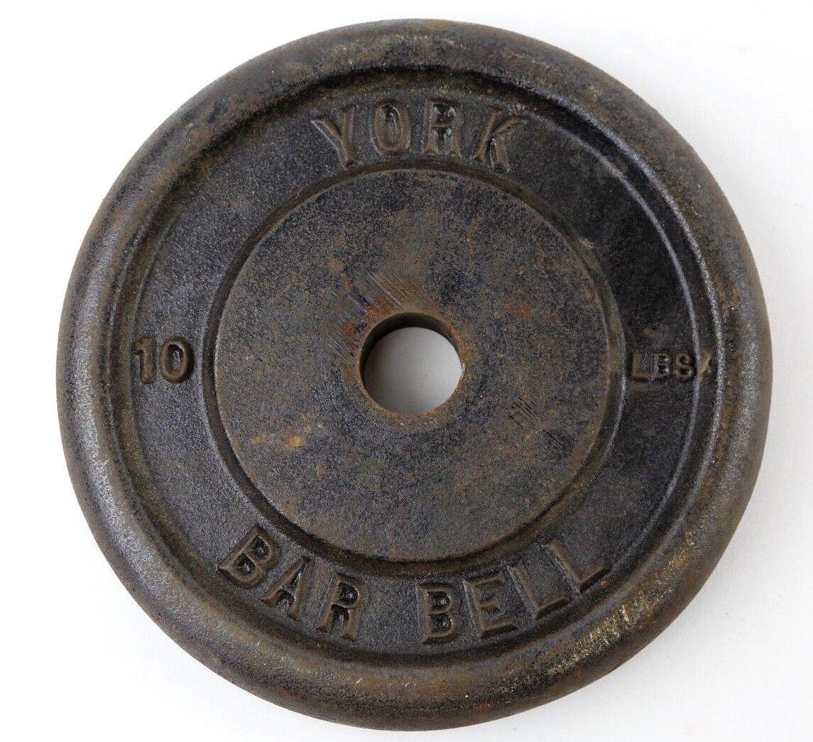 Vintage York Barbell uno 10lb Estándar Peso Placa De Hierro Fundido Culturismo