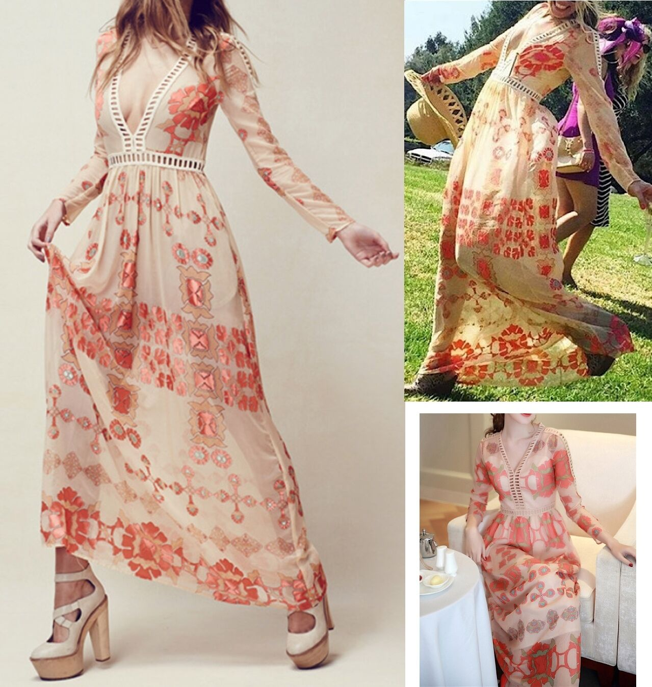 Vestito Lungo damen Tre Versioni Woman Maxi Dress 3 Different Styles 110202A-B-C