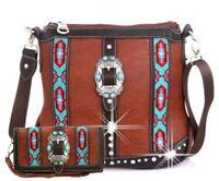 Montana West Belt Buckle Accented Aztec Design Western Style Messenger Bag Set