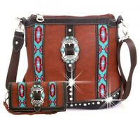 Montana West Belt Buckle Accented Aztec Design Western Style Messenger Bag Set