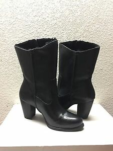 59f59dfb02f Details about UGG LYNDA BLACK LEATHER HIGH HEEL SUEDE BOOTS US 7 / EU 38 /  UK 5.5 - NEW