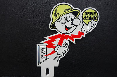 Reddy Kilowatt LICENSE PLATE TOPPER ELECTRIC COMPANY DIE CUT ELECTRICIAN GIFT E