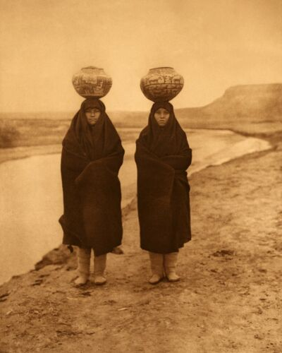 Zuni girls at the river Edward Curtis Native American Photo
