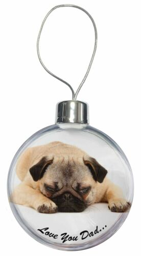 DAD-81CB Pug Dog /'Love You Dad/' Sentiment Christmas Tree Bauble Decoration Gift